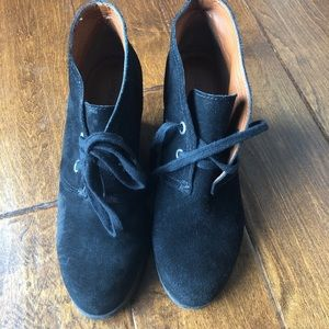Lucky brand suede ankle boot booties Wedges &.5